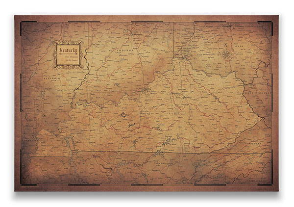 Kentucky Push pin travel map golden aged