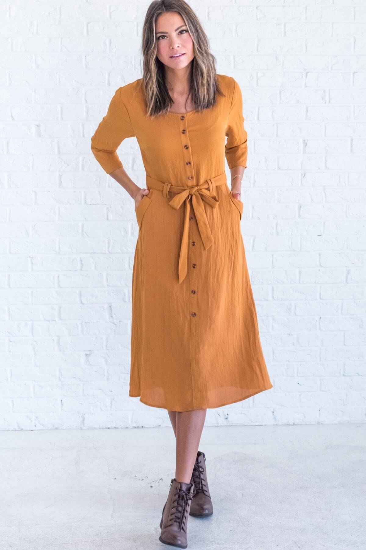 Mustard Yellow Button Up 3/4 Sleeve Midi Dresses for Women