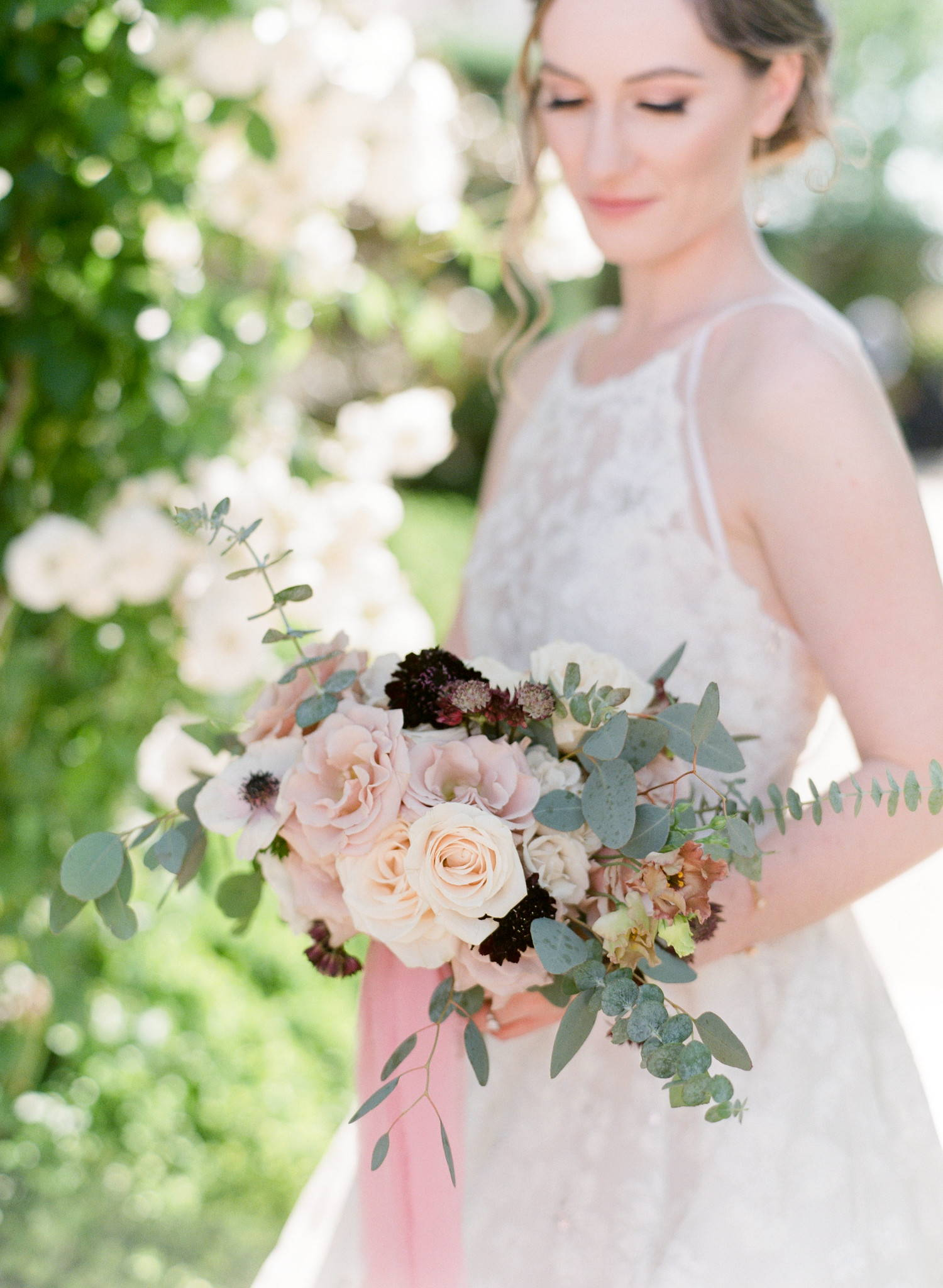 DIY BOUQUET:  Quicksand and Vendella Rose, Burgundy Astrantia, Anemone, Scabiosa