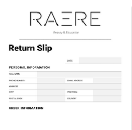 RAERE Return & Exchange Form