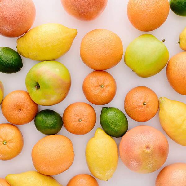 High Quality Organics Express fall citrus fruits, apple, grapefruit, lime