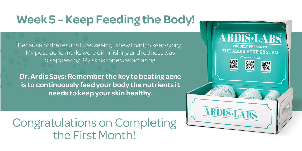 It takes 6-8 weeks to heal the skin using the Ardis Clear Skin Complex.