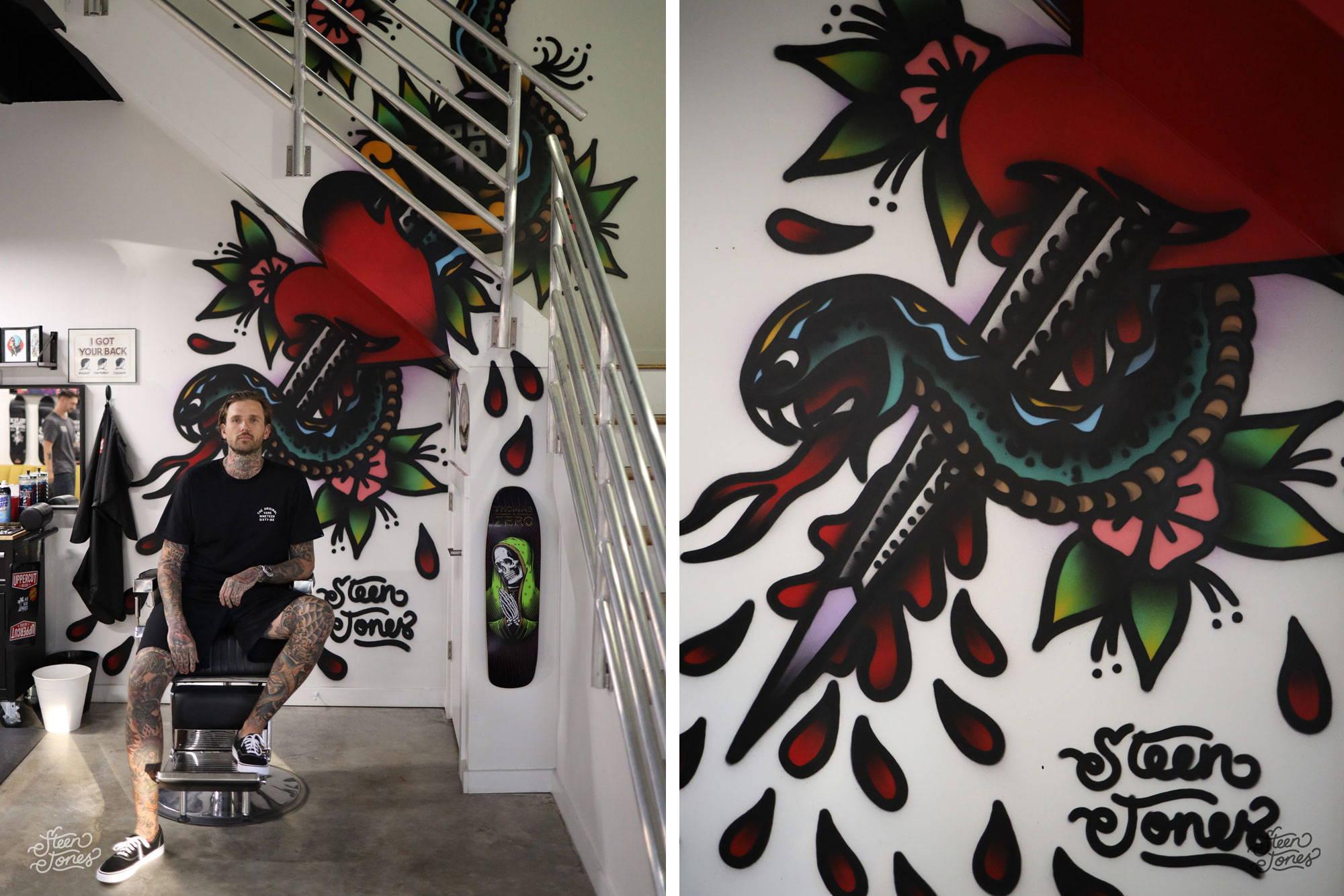 Steen Jones tattoo street artist Queen St Barbershop Wilmington USA mural