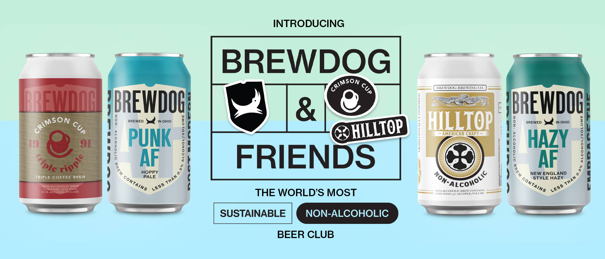 Introducing BrewDog & Friends. The world's most sustainable non-alcoholic beer club.