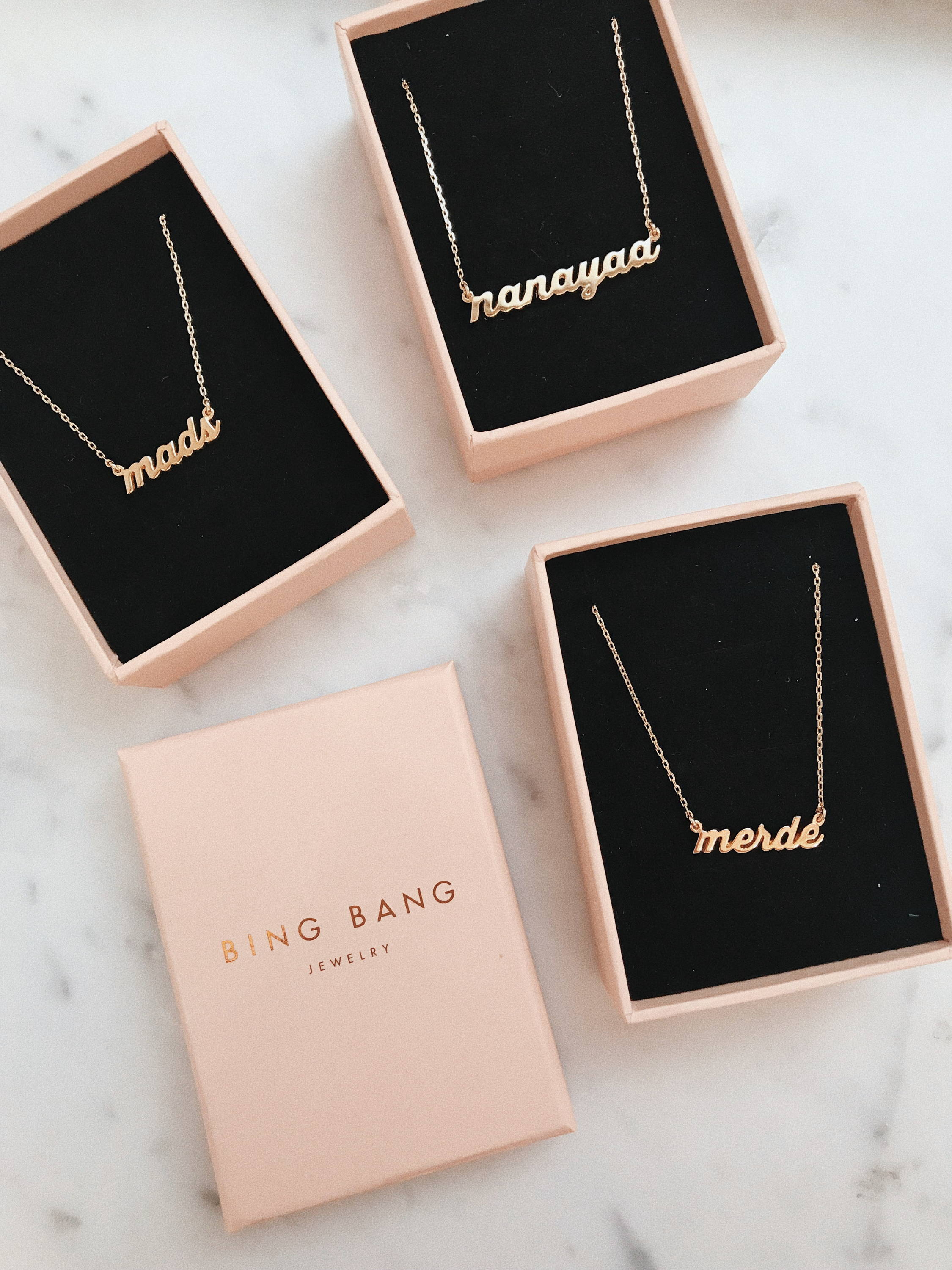 Custom Nameplate Necklace - Bing Bang by Anna Sheffield