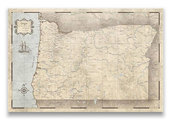 Oregon Push pin travel map rustic vintage