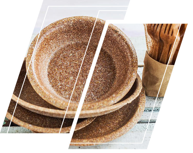Wooden plates and kitchen utensils