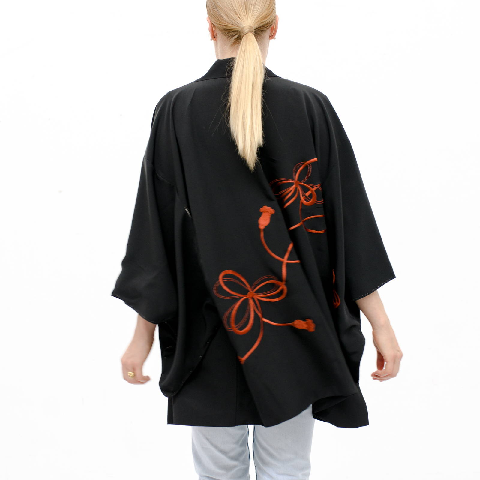 Kimono Jacket - Haori - Hand Embroidered Black Silk