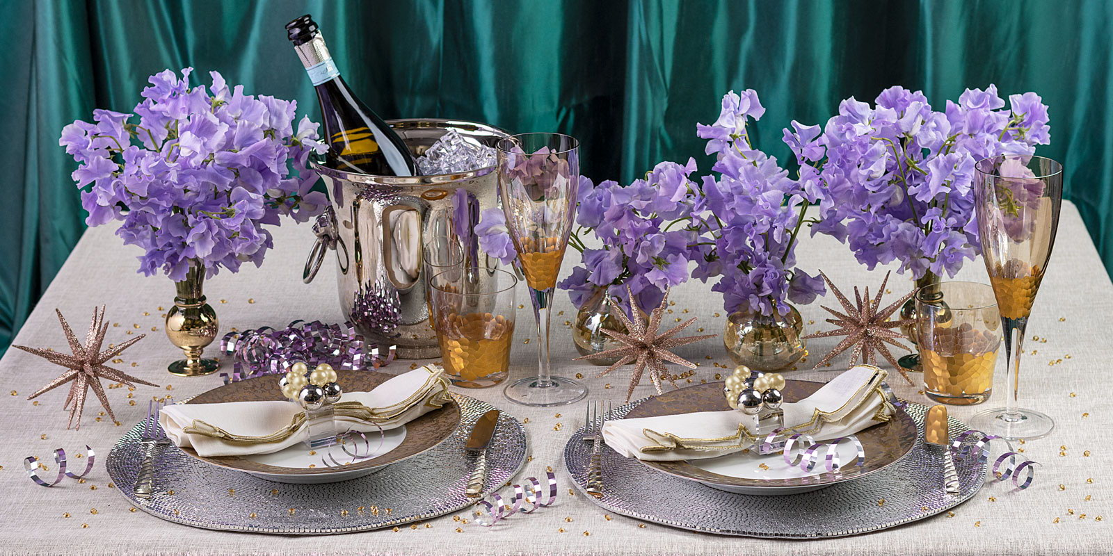NYE tablescape with Patina Placemat