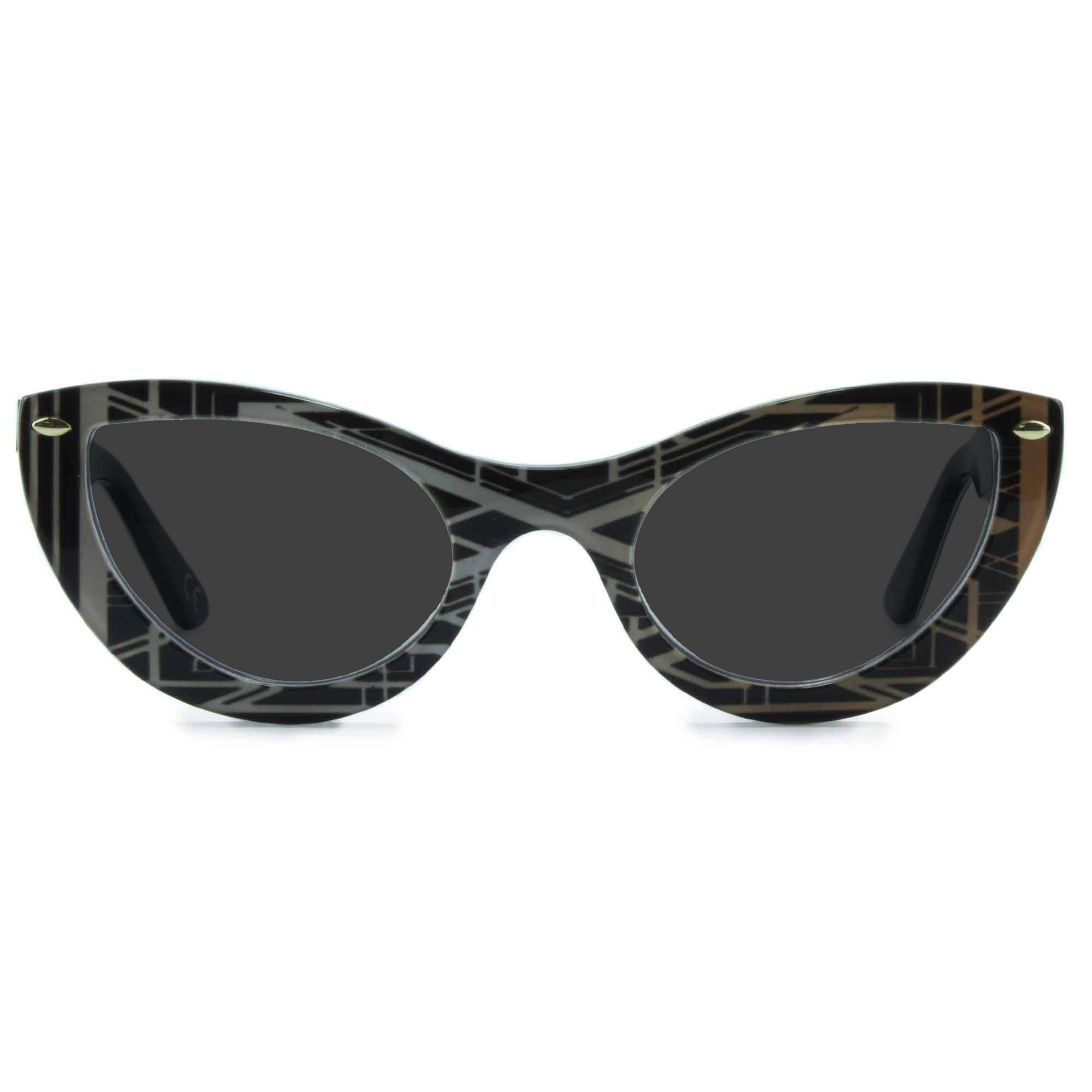 Joiuss gatsby black & gold cat eye sunglasses