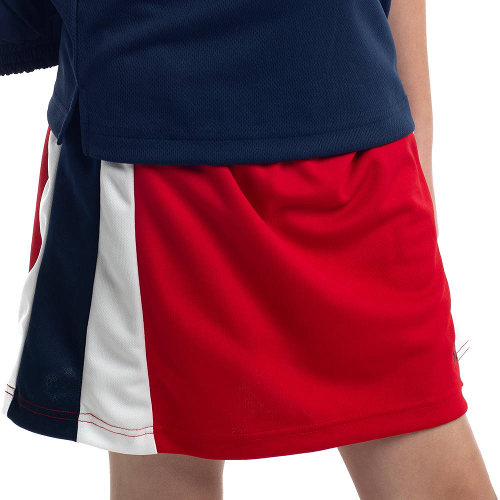 Detailed cut and sew PE sports skort featuring built in Lycra bike shorts for Pymble Ladies College.