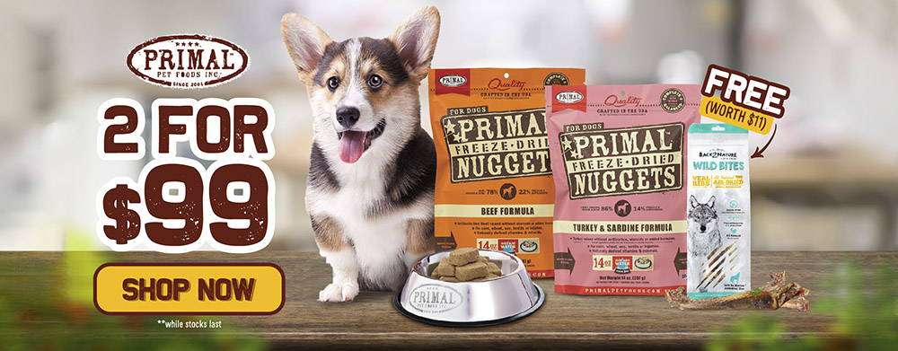 Primal freeze-dried raw dog food 2 for $99 promotion.