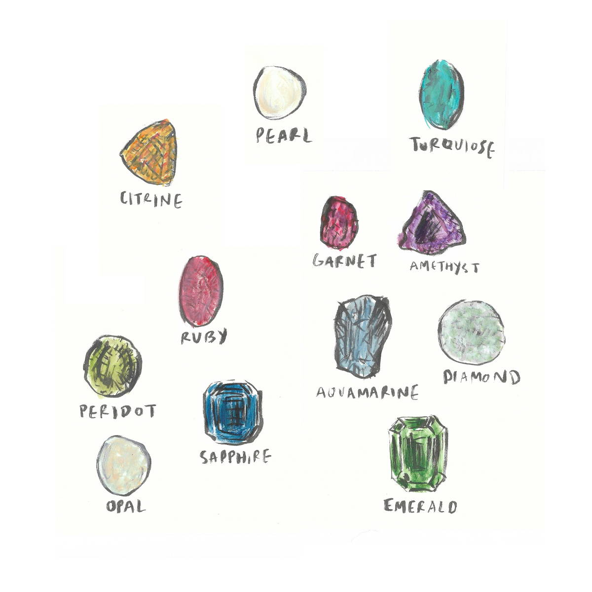 Birthstone drawings