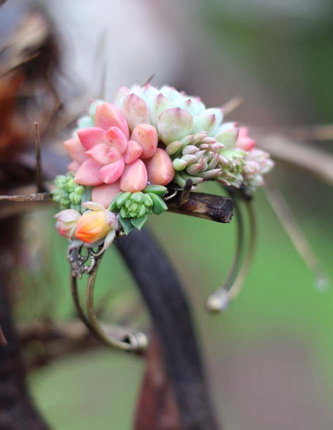 Succulent Cuff Corsage Bracelet Live