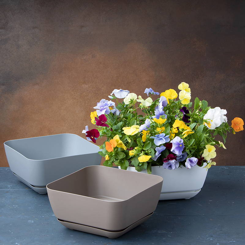 Majestic large garden planters in white, gray and taupe