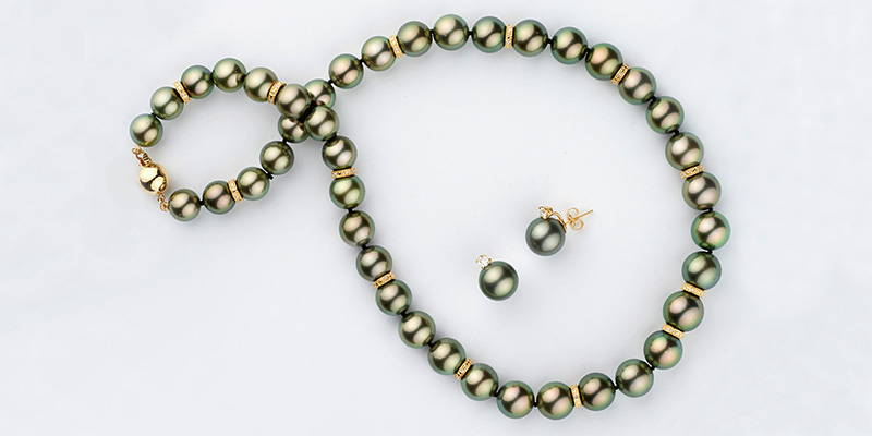 Tahitian Pearl and Diamond Rondelle Necklace and Earring Set