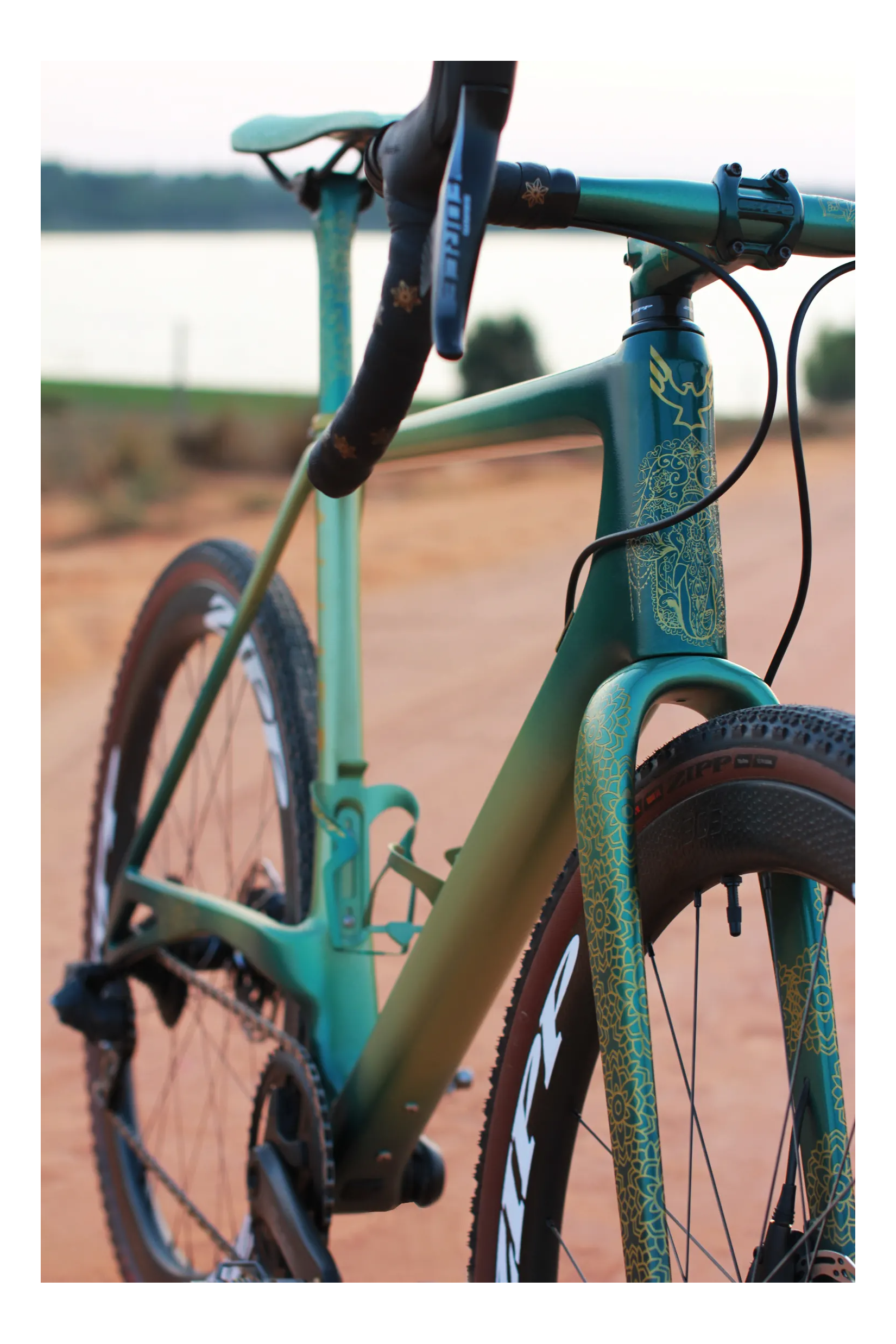 A close up of  green bike  frame with custom  a gold pattern