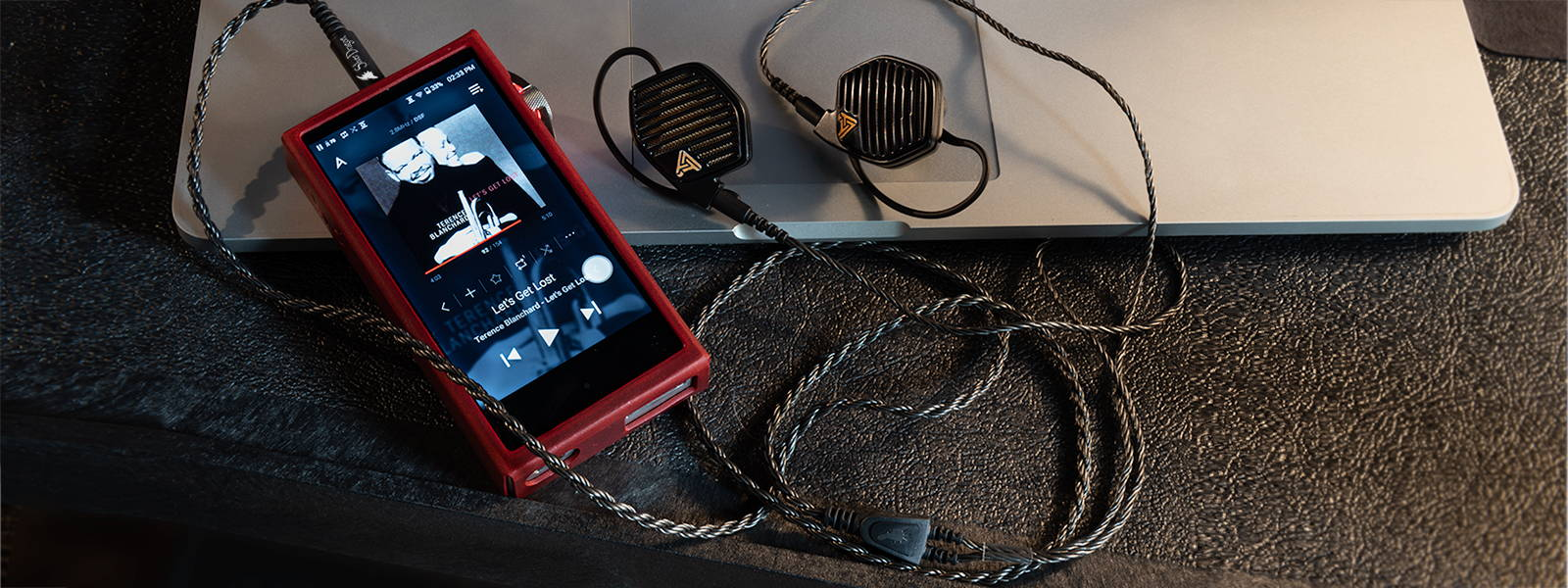 Audeze LCD-i4 IEM with Silver Dragon IEM Cable connected to Astell&Kern SA700 DAP