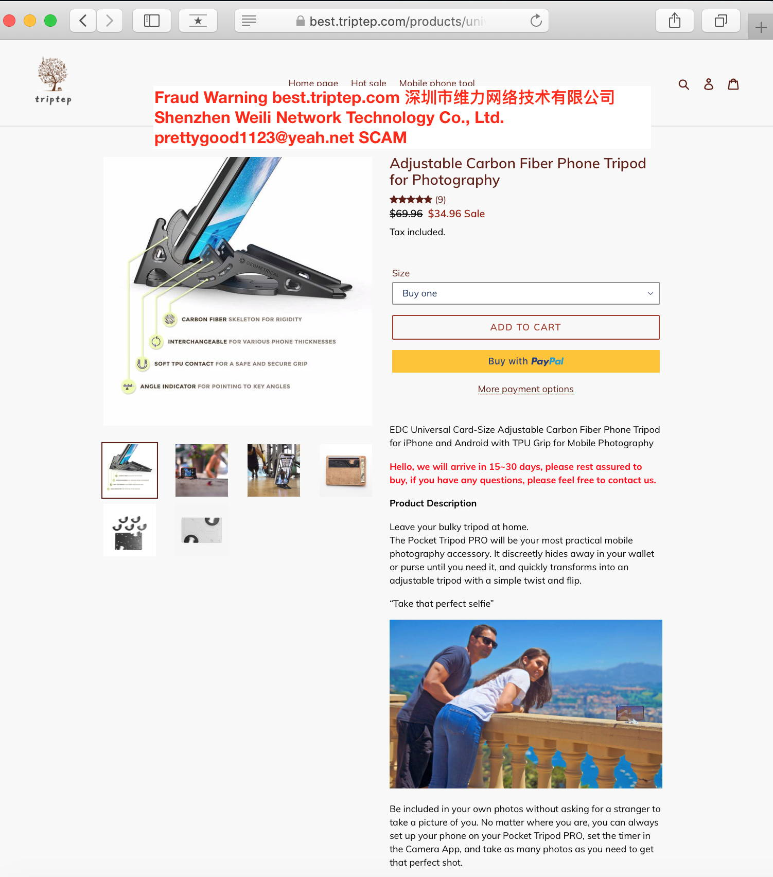 Avoid SCAM websites – Geometrical Pocket Tripod