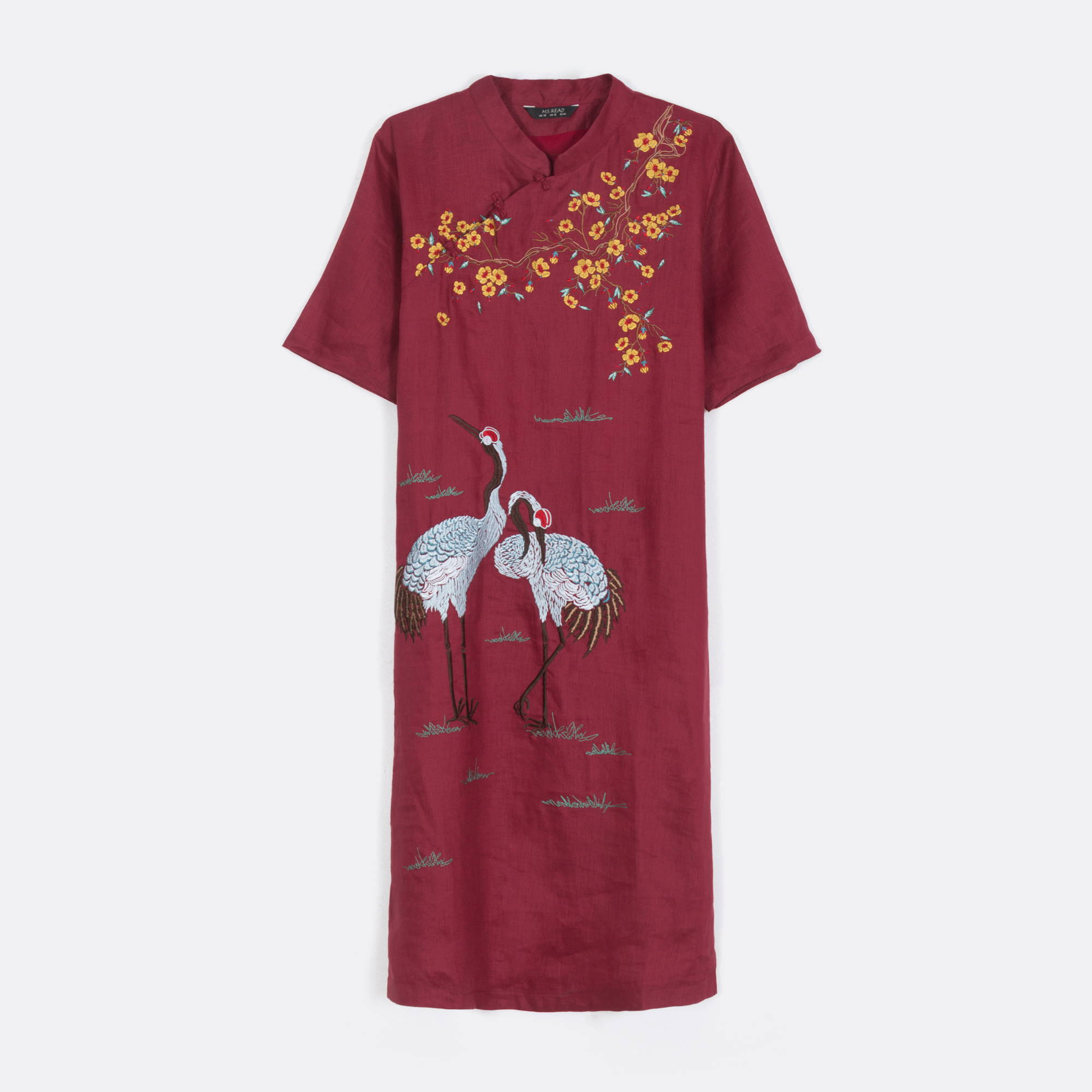 MS. READ Embroidered Linen Qi Pao