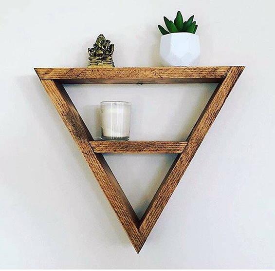 Tiny Bedside Table - Triangle Shelf
