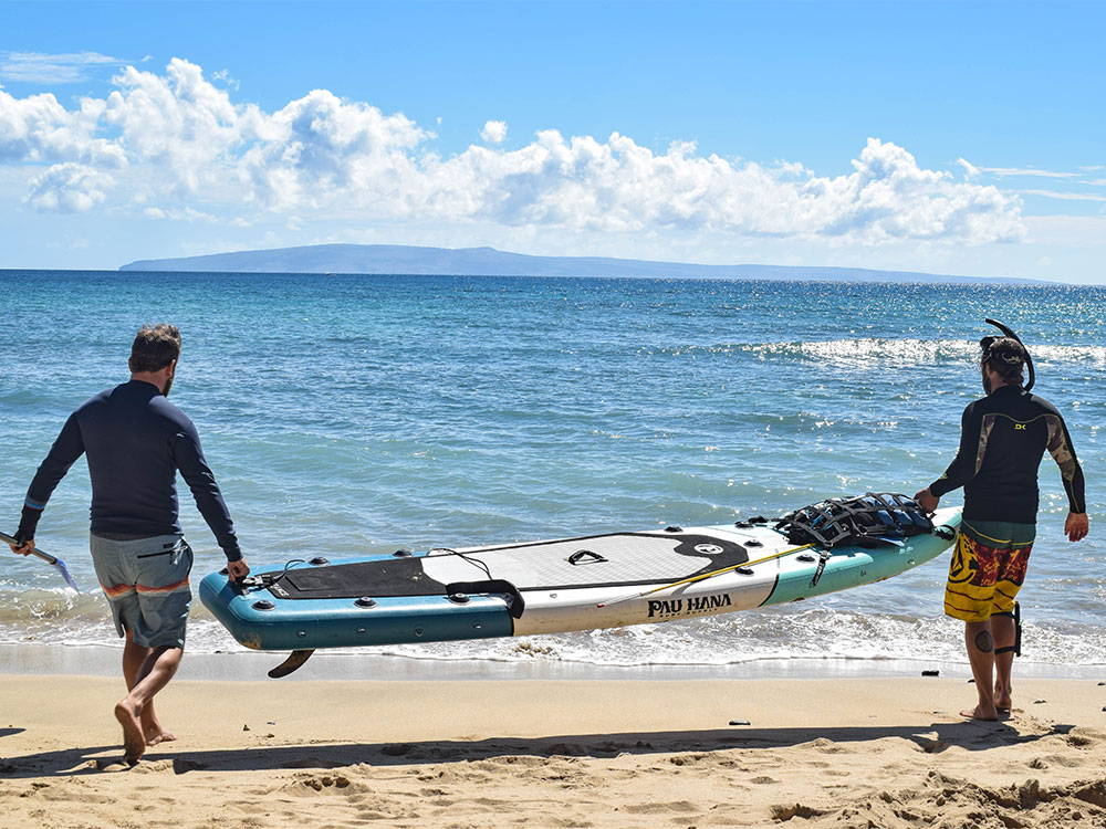 The family out on the Endurance Air inflatable SUP
