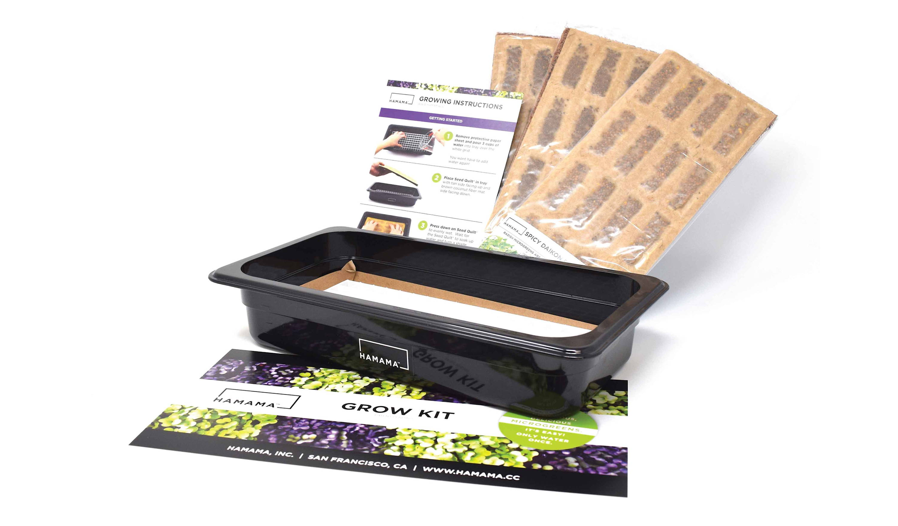 Grow Kit for growing microgreens at home year round.  Includes grow tray, instructions, and three Seed Quilts.