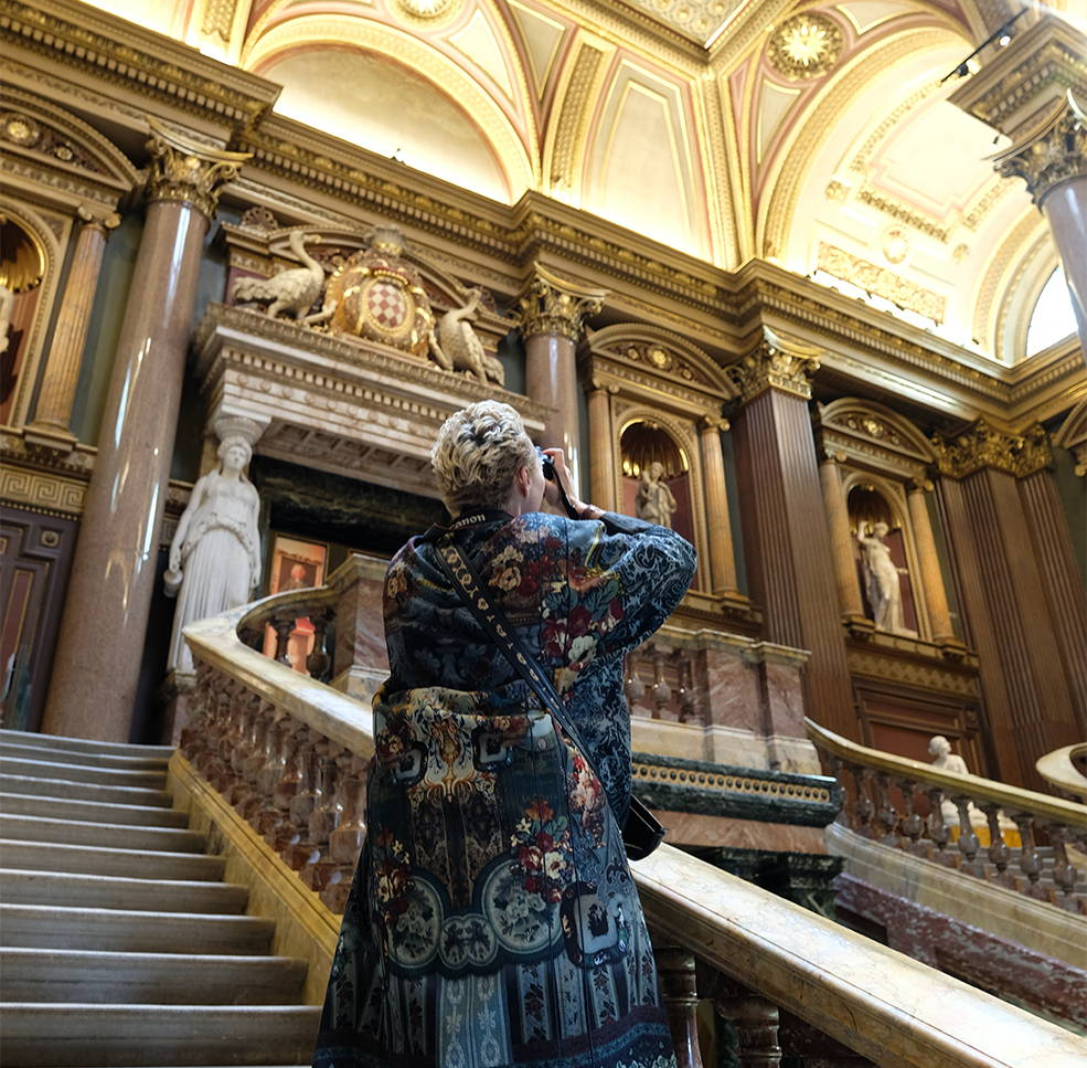 CAMILLA taking photo of architecture in Cambridge