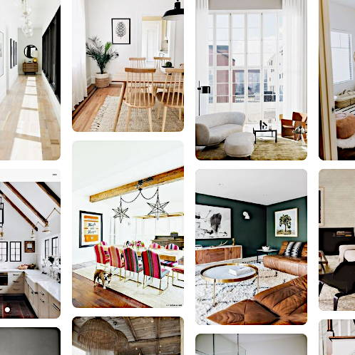 A grid of photos featuring colorful interior shots of living and dining areas designed in the organic modern style.