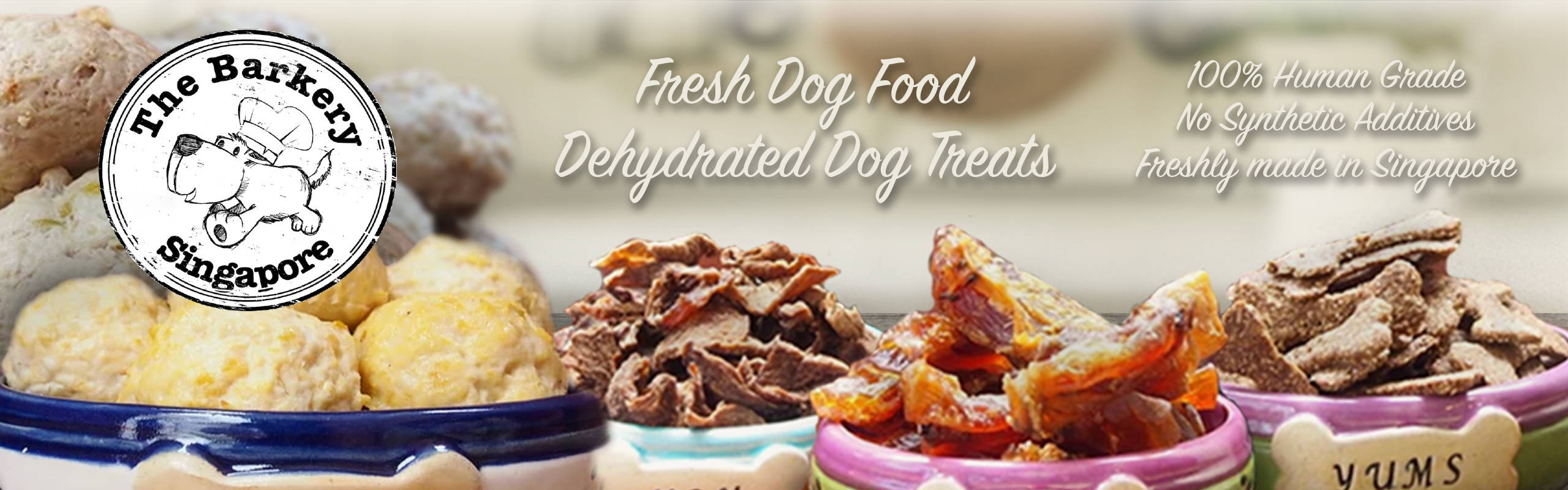 The barkery fresh dog food and dehydrated air-dried treats banner
