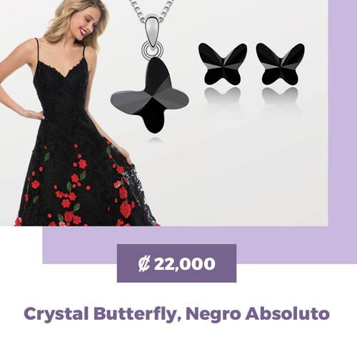 MAGIISTINO Set de Joyería de 2 Piezas con Swarovski Elements® Crystal Butterfly, Negro Absoluto
