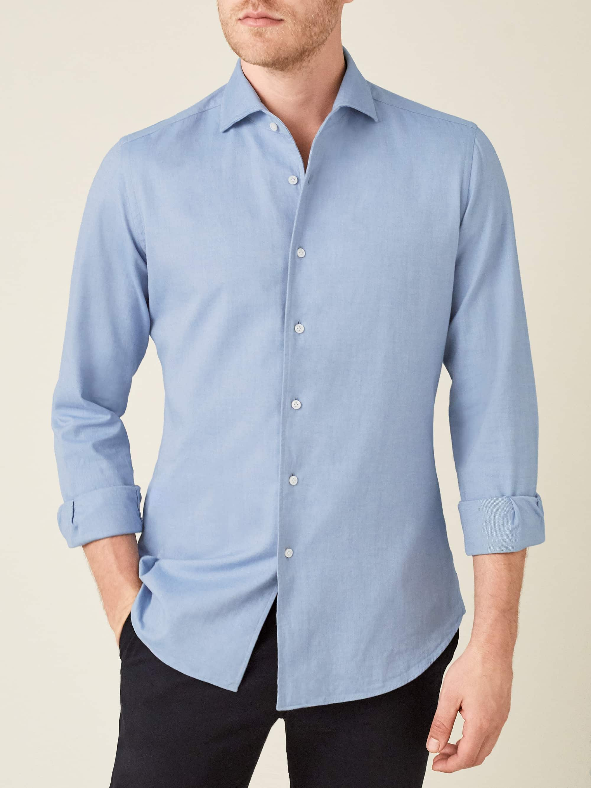 Luca Faloni Light Blue Brushed Cotton Made in Italy