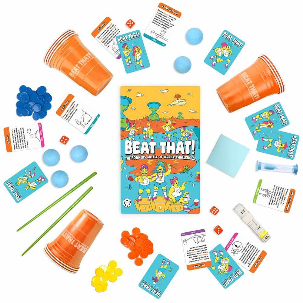 Aerial image of Beat That! family party game with all components