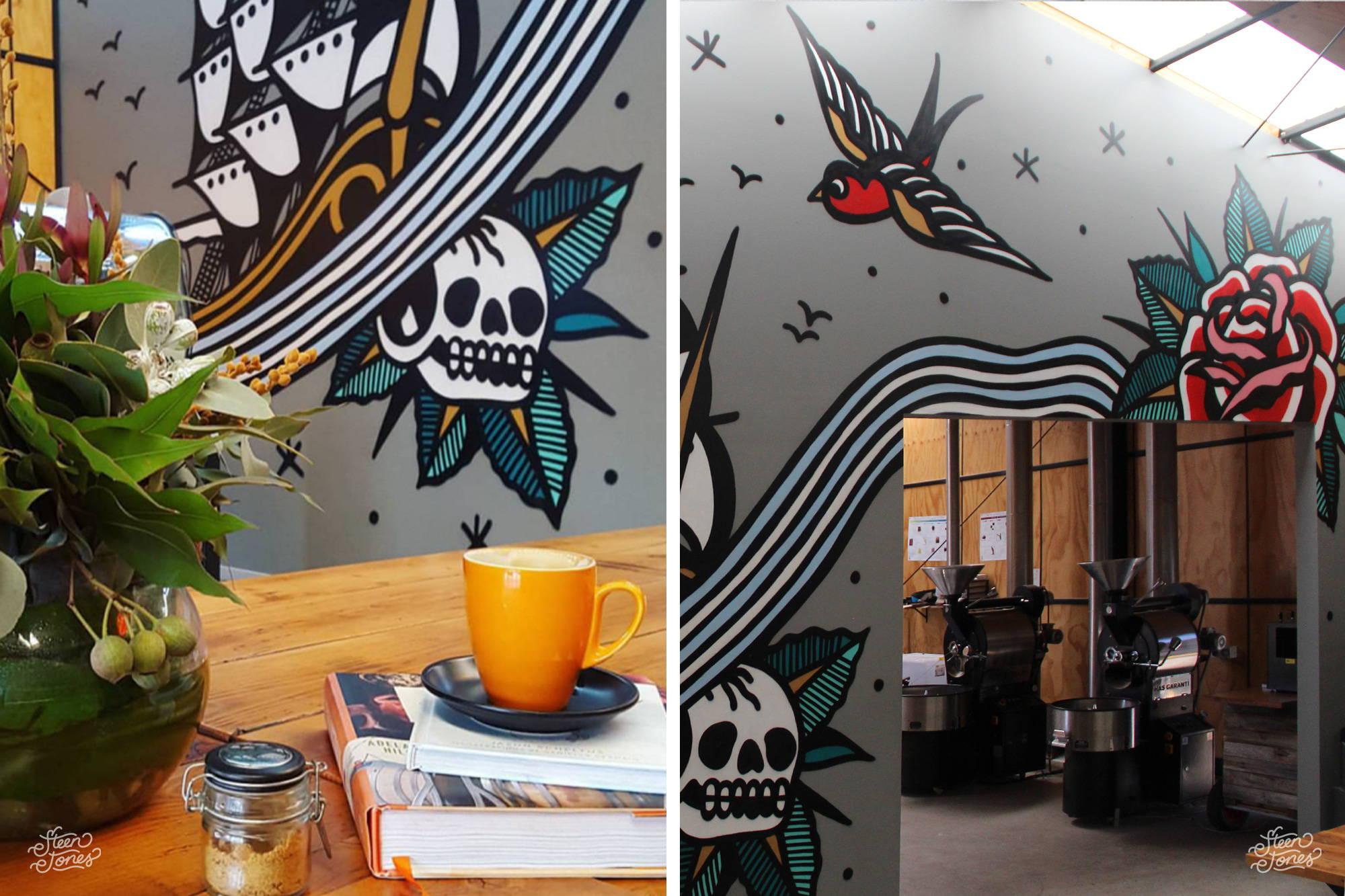 Steen Jones tattoo street artist Australia mural Little Rebel Coffee flowers melbourne