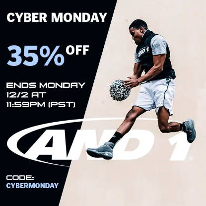 AND1 Cyber Monday, 35% off SITEWIDE. Perfect holiday gifts for family and friends at cheap prices: basketballs, basketball shoes, tai chis, shorts, shirts, jerseys, sneakers, basketballs, beanies, hoodies, joggers and more.