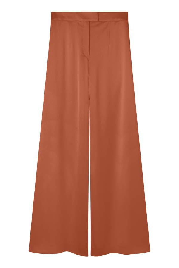 Galvan London Wide Leg Satin Orange Trousers