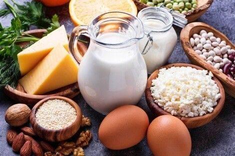 Muskelaufbau Ernährung Eiweißquellen: Milchprodukte, Fleisch, Eier