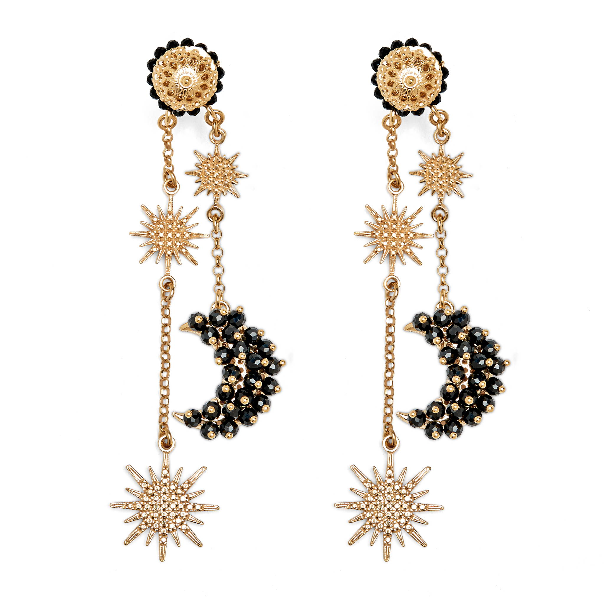 SORU JEWELLERY BLACK LUNA EARRINGS, BLACK AND GOLD MOON EARRINGS