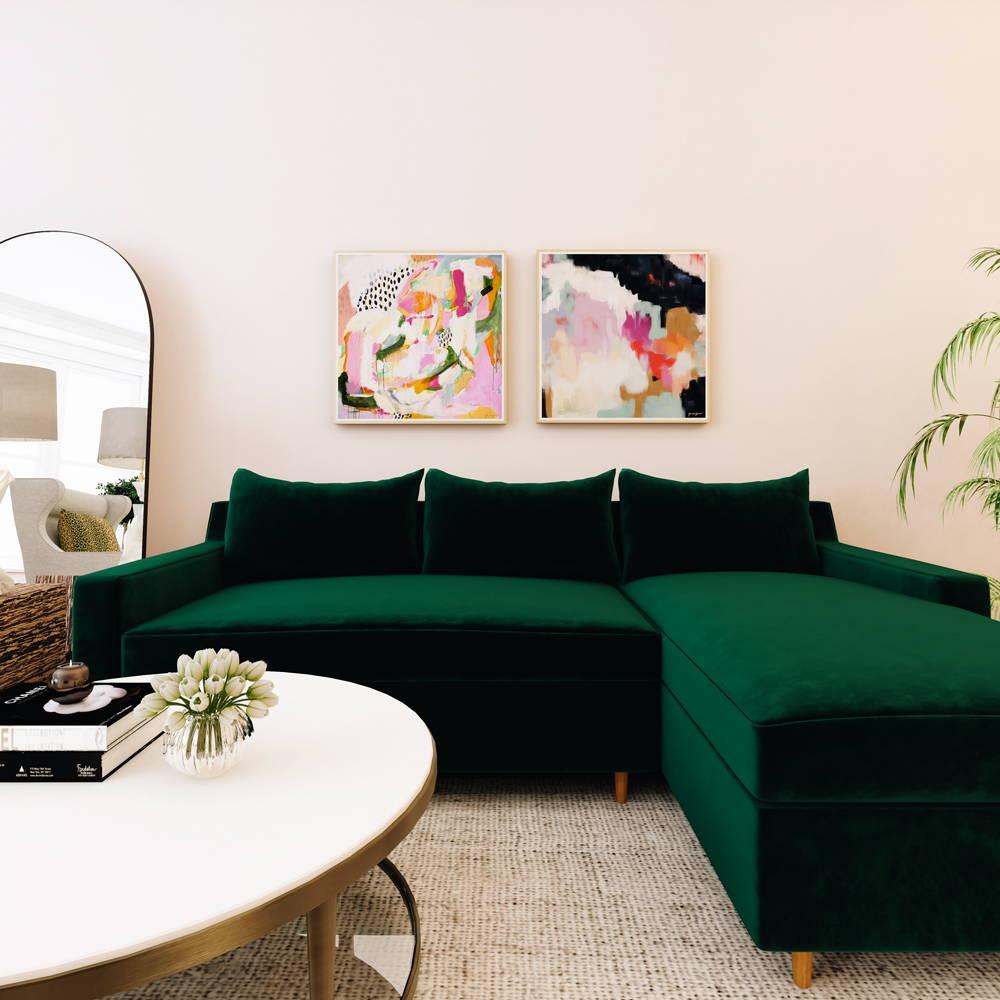 Abstract wall art pair over green sofa - pink square abstract art prints via Parima Studio . Set of two art prints
