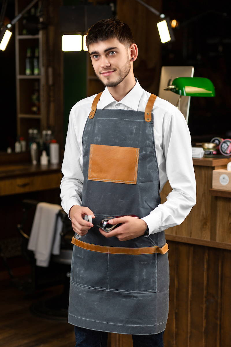 grey waxed canvas apron for men