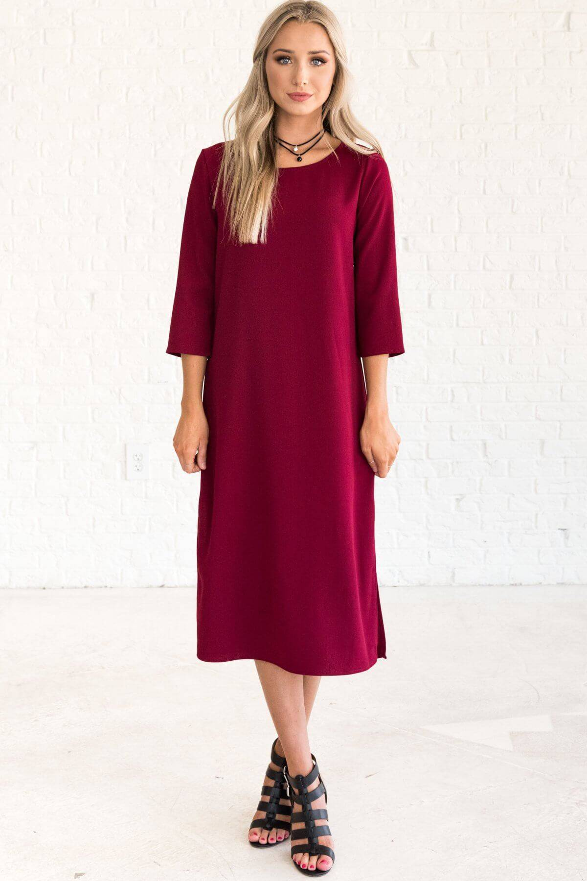 Burgundy Red 3/4 Sleeve Midi Dresses Affordable Online Boutique