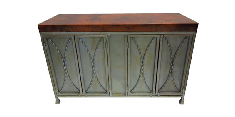 Natural hammered copper buffet cabinet with iron base model number 1239C