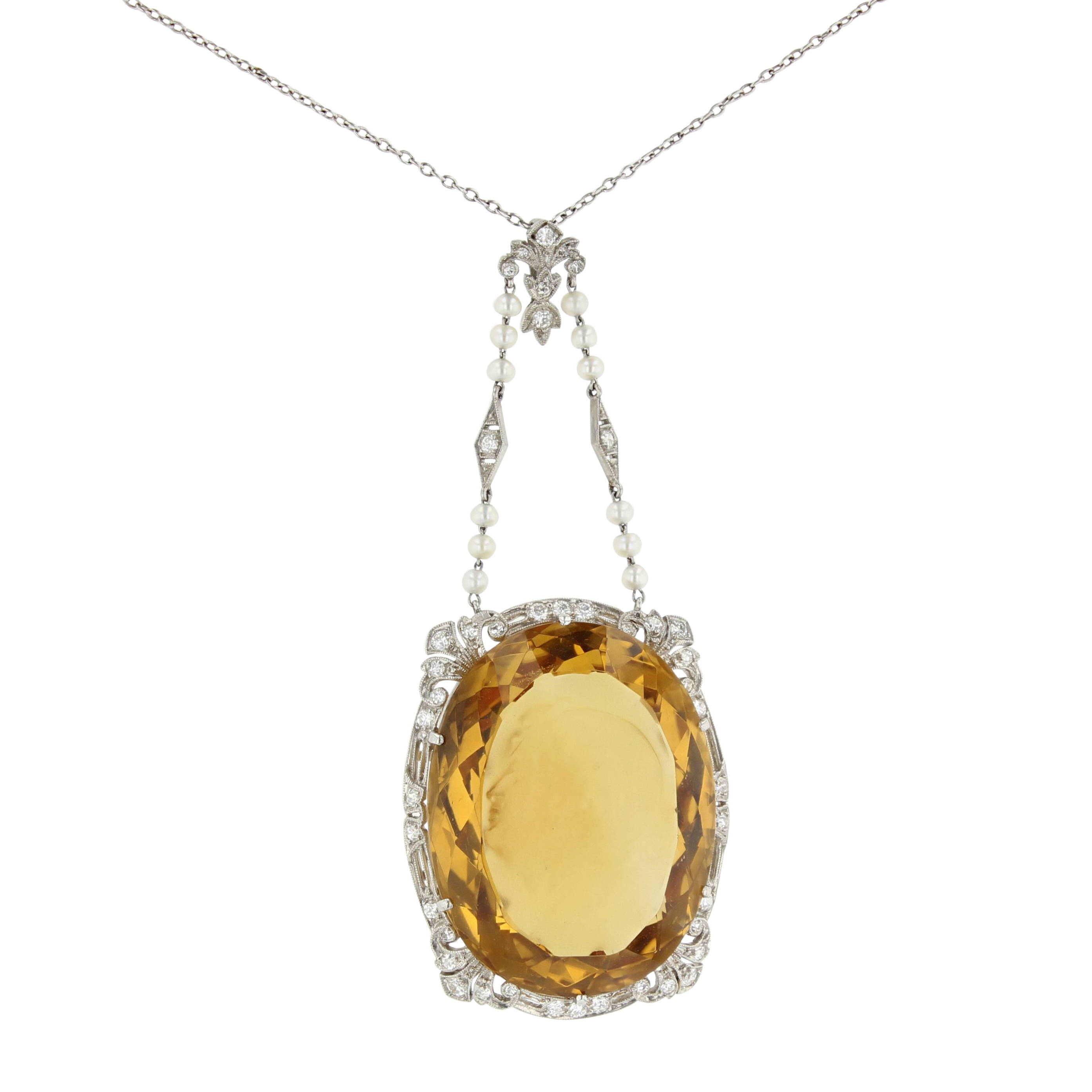 Estate Antique Citrine Pendant