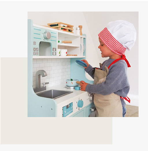 Neutral play kitchen for kids