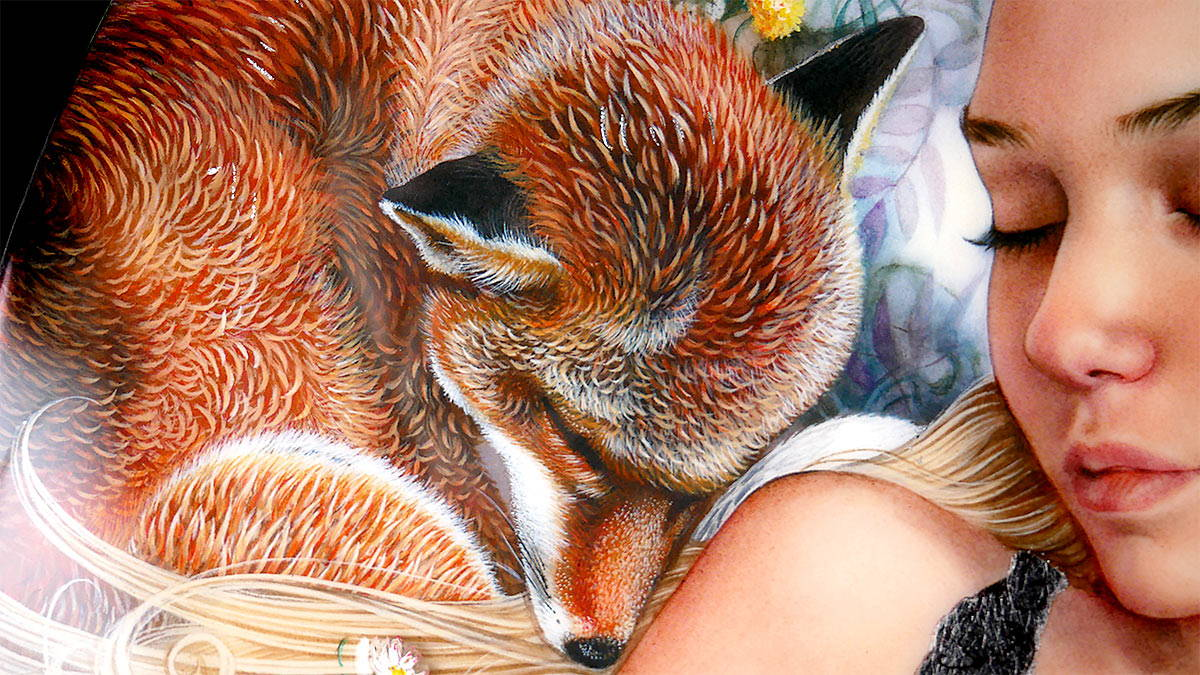 Part of a woman's portrait next to a sleeping fox.