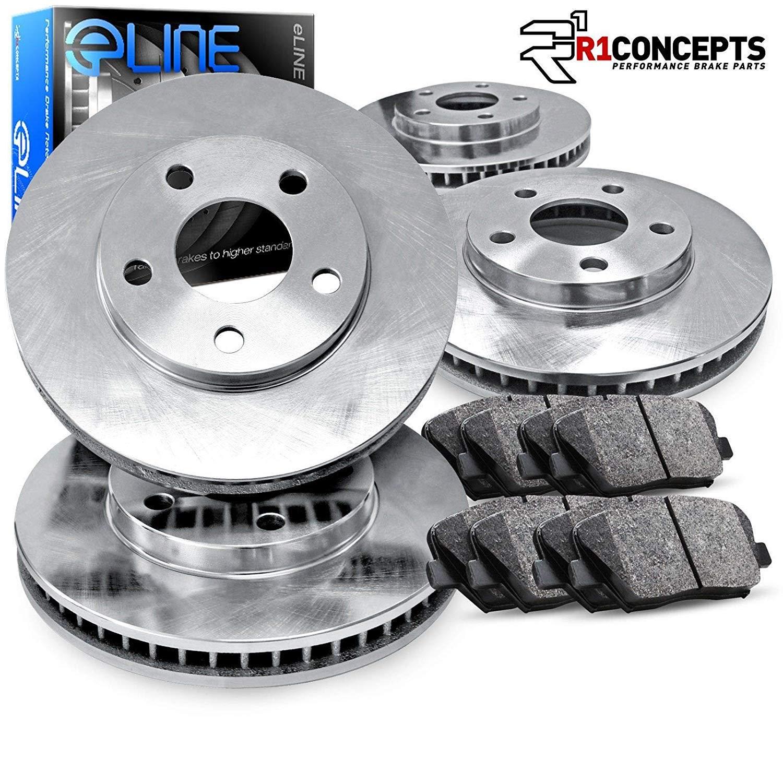 For 2011 Mini Cooper Front Rear eLine Black Drill Slot Brake Rotors+Ceramic Pads
