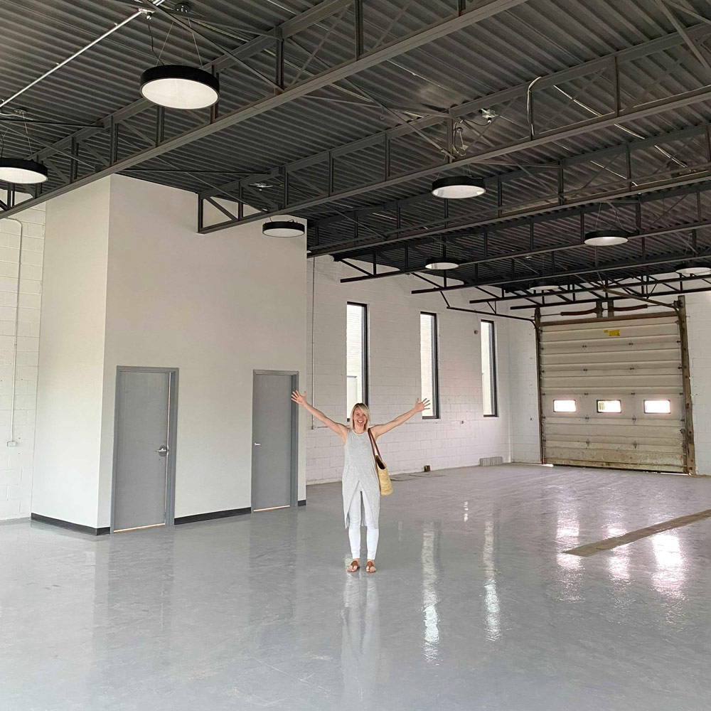Rainsford Company founder Andrea Doxey in our spacious new showroom & warehouse.