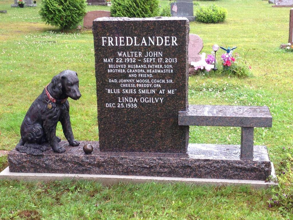 Bronze statue of a Golden Retriever dog at a gravesite cemetery