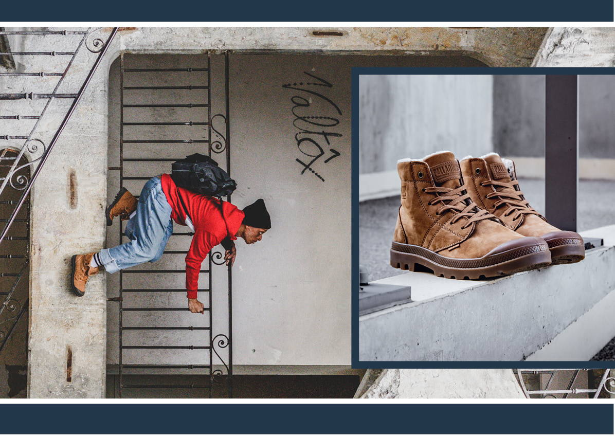 Images shows the collage of mahogany Pallabrousse leather boots and a man wearing them walking on the wall