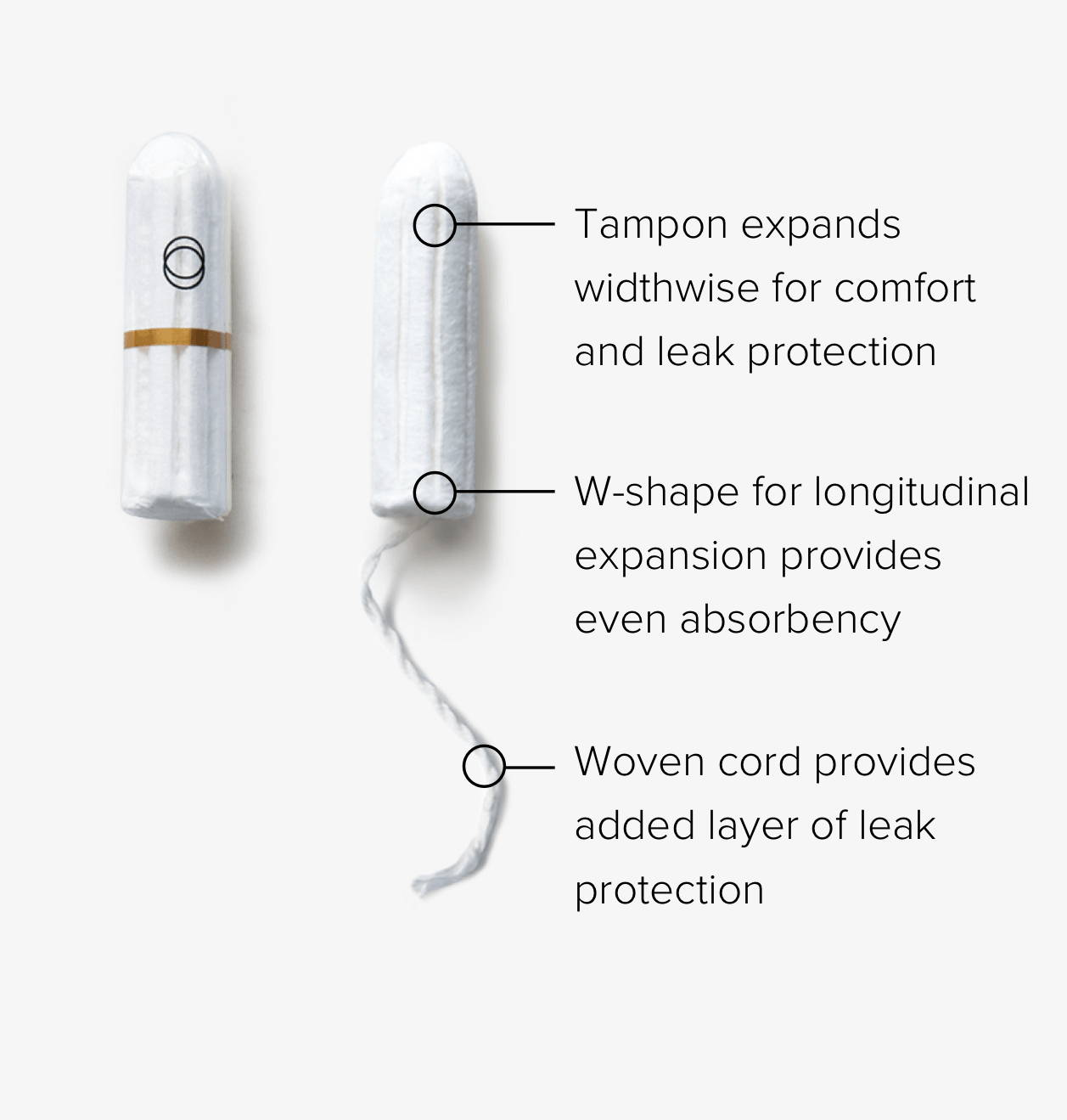 Two organic applicator-free tampons. One without a cord, one with a woven cord